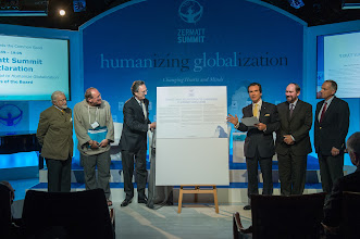 """Photo: Unveiling of the """"Zermatt Summit Declaration on the Common Good to Humanize Globalization"""" Please go to our internet site to sign this Declaration"""