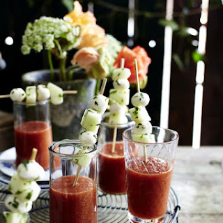 Gazpacho with Melon-Mozzarella Skewers