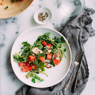 Watermelon salad with Goat Cheese, Watercress and Mint.