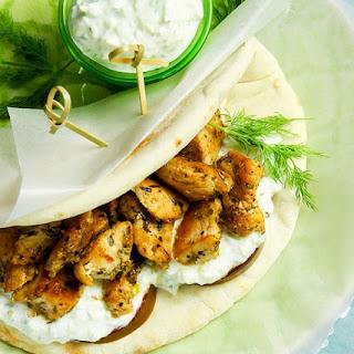 Lemon Chicken Pita Wraps with Tzatziki.