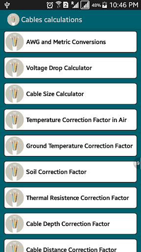 Voltage drop Cable size calc