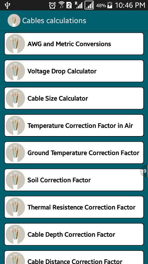 Voltage Drop Cable Size Calc Screenshot