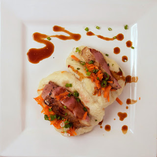 Pan Seared Duck Breast in a Scallion Steamed Bun