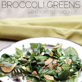 Sautéed Broccoli Greens with Toasted Coconut