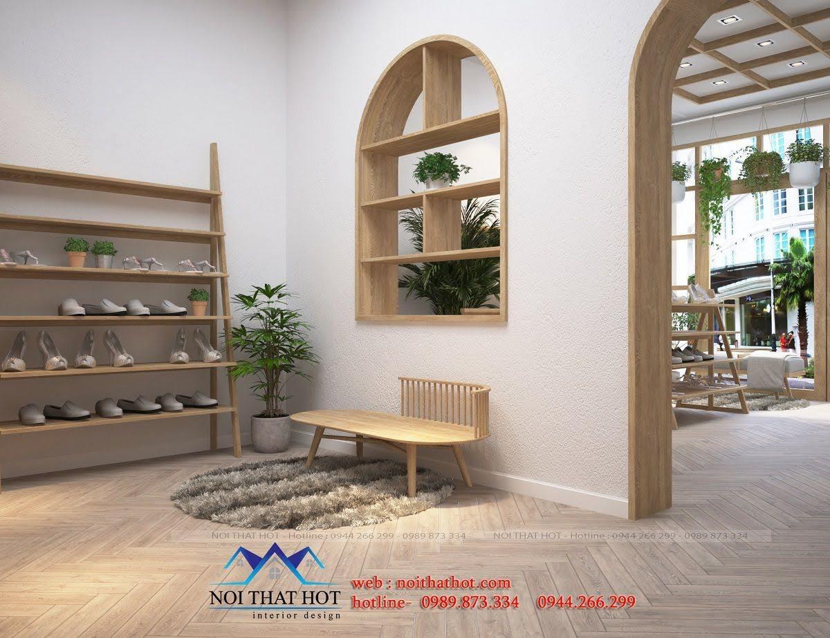 thiết kế shop giày dép nữ mộc mạc