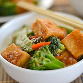 Vegetable Stir Fry with Sweet and Spicy Tofu.
