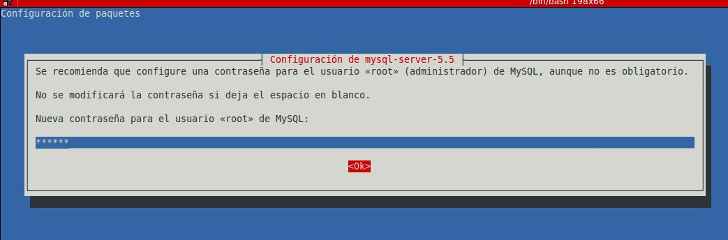 Fig. 1 Escribir contraseña de root MySQL
