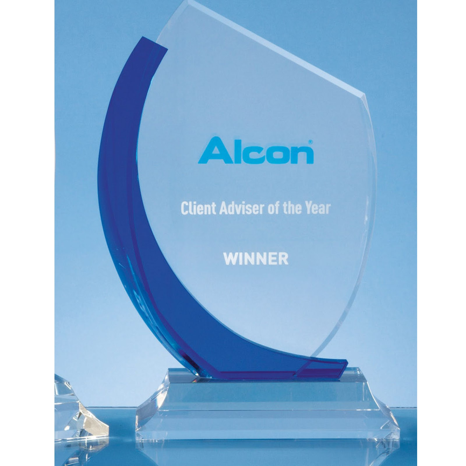 Blue Curve Optical Crystal Flat Engraved Awards