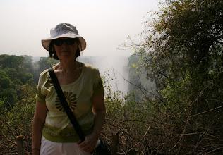 Photo: The tourist (here Pirkko) at Victoria Falls