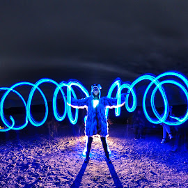 Bending energy by Art Kevy - Abstract Light Painting ( abstract, sand, desert, light painting, blue, neon, dust, night, light )