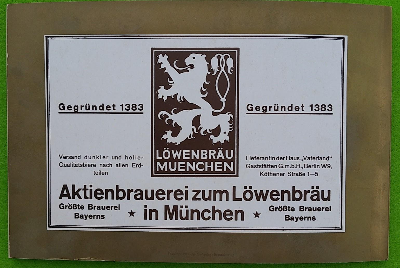 Begleitheft zur Eröffnung von Haus Vaterland am Potsdamer Platz, Berlin, 31. August 1928 - Löwenbräu