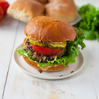 Mushroom and Black Bean Veggie Burger.