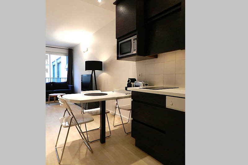 Champs Elysees studio apartment kitchen
