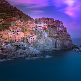 Manarola (Cinque Terre) by Arif Sarıyıldız - Landscapes Sunsets & Sunrises ( colorful, long exposure, genoa, travel, manarola (cinque terre), italy )