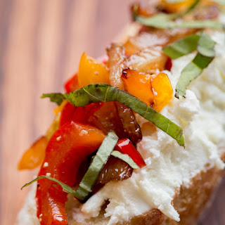 Caramelized Onion, Bell Pepper and Goat Cheese Crostini