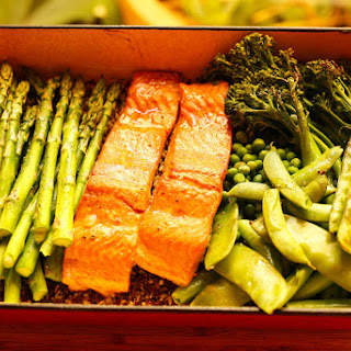 One Tray Oven Baked Salmon with quinoa and rice.