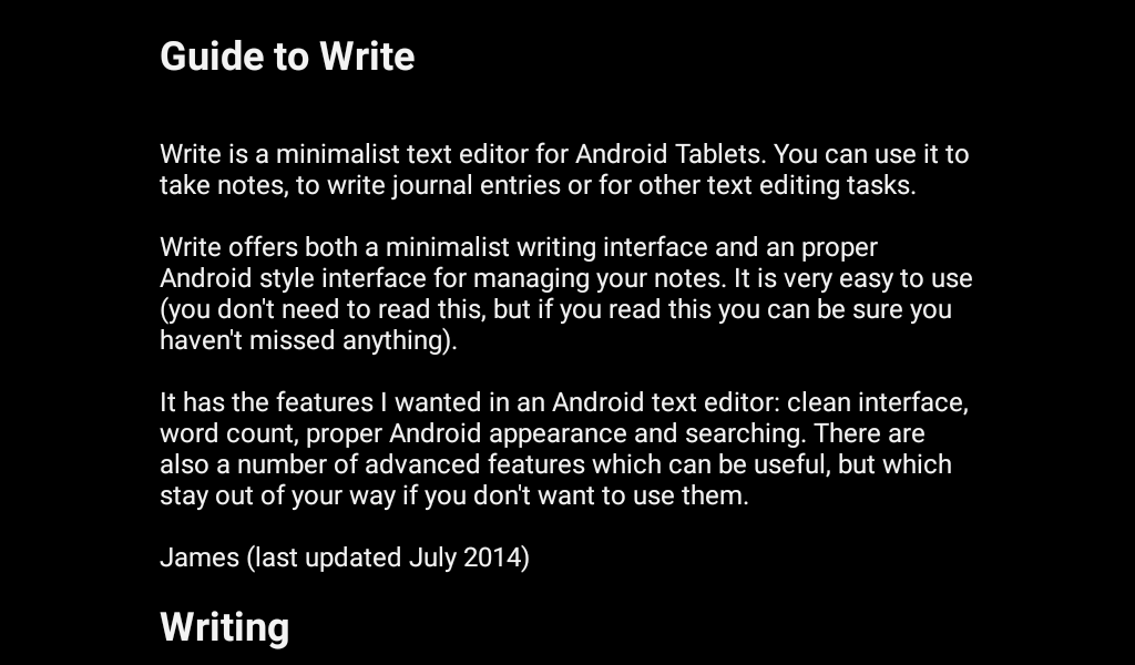 Write app for android tablet