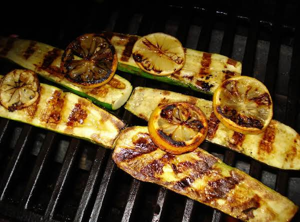 Grilled Zucchini With Grilled Lemon.