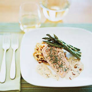 Oven-Baked Salmon with Picholine Olive Sauce.
