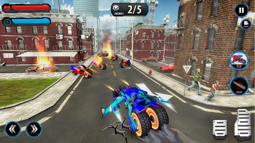 Flying Robot Police ATV Quad Bike City Wars Battle apktram screenshots 10