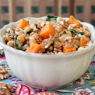 Warm Spelt Salad with Winter Squash and Chickpeas.