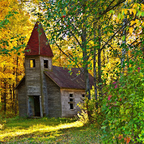 Estonian Church by Reva Fuhrman - Buildings & Architecture Places of Worship ( vintage church rural sunset trees historical,  )