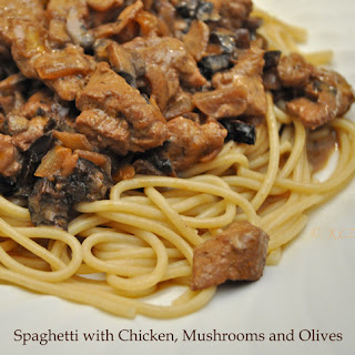 Spaghetti with Chicken, Mushrooms and Greek Olives