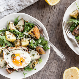 Garlic Parmesan Roasted Potato Salad with Fried Eggs