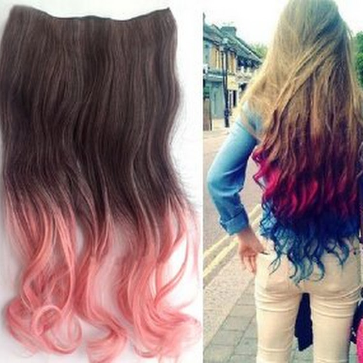 Clip On Ombre Dip Dye Curly Nylon Clip In Hair Extension By