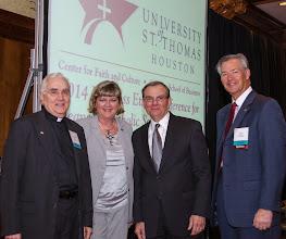 Photo: Fr Donald Nesti CSSp, Industry Speakers: Sherron Watkinsand Harry Longwell and Committe Member Steve Arbogast