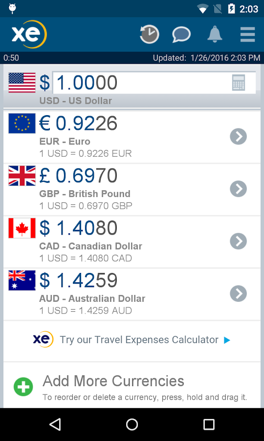 XE Currency Pro- screenshot