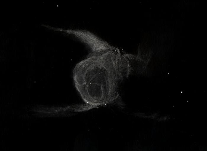Photo: Le casque de Thor dans le Grand Chien (NGC 2359), le 6 mars 2011 au T406 à 88X et 175X, filtre OIII. Rémanent d'étoile du type Wolf-Rayet.