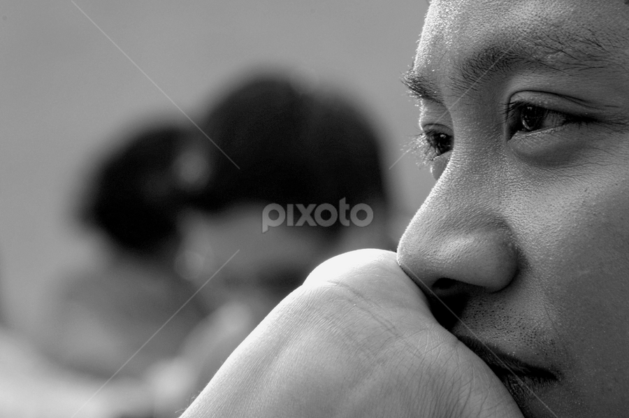 Thinking Of You by Gary Salcedo - People Portraits of Men ( black and white, people, portrait,  )