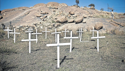 Crosses mark the koppie at Marikana, North West, where 34 miners were killed in August 2012. File photo.