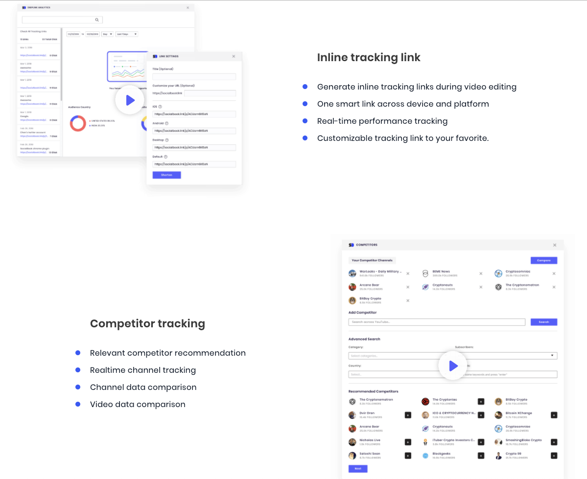 Insert tracking links and track competitor channels with SocialBook YouTube builder.