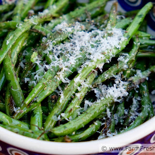 Grilled Green Beans with Garlic Scape Pesto and Parm (side dish and appetizer)