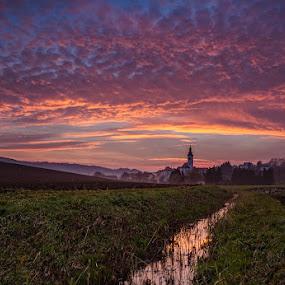 Church under the sky by Peter Zajfrid - Landscapes Sunsets & Sunrises ( clouds, sky, slovenija, sunset, creek, slovenia, voličina )
