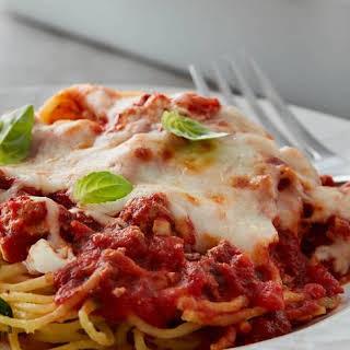 Skinny Million-Dollar Spaghetti Casserole.