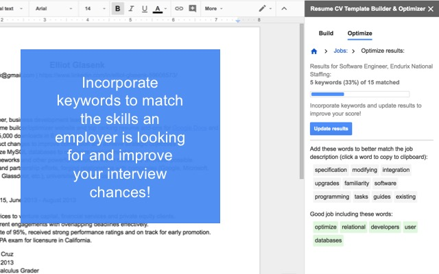 Resume Cv Template Builder  Optimizer  Google Docs AddOn