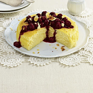 Cheesecake Soufflé with Cherry Compote