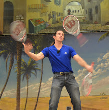 Photo: John Nations entertains the audience with his tennis racket routine