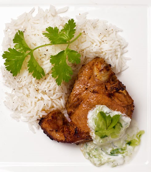 22. Lamb chops with cucumber raita