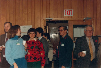 Photo: 1986. APLA-10. University of New Brunswick. Murray Kinloch Souvenir Album, 10  (left to right) Walter Cichocki, Alison Sollows-Astle, Donna Atkinson, Watson Williams, Rex Wilson  Photograph by Jean Kinloch, caption by Murray Kinloch