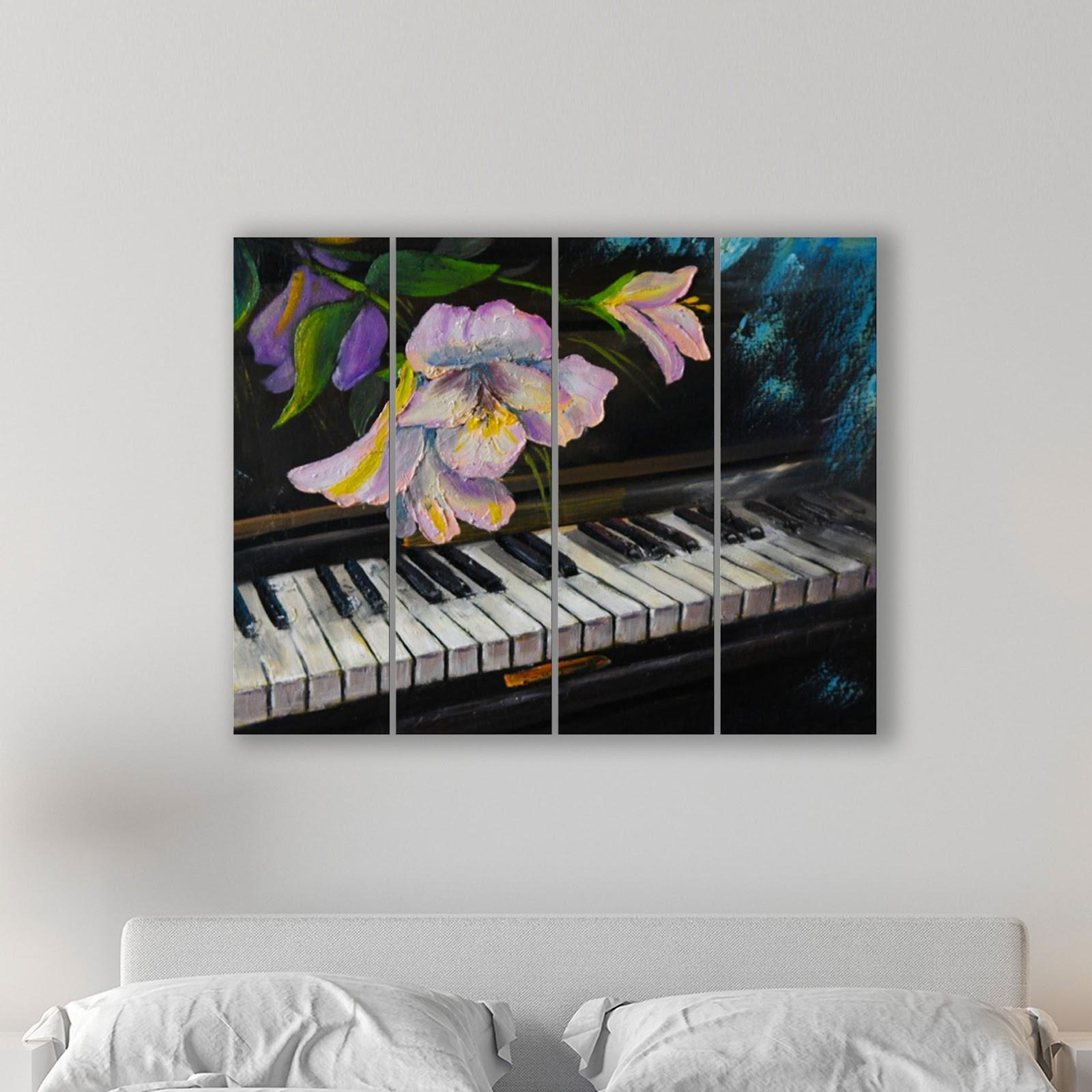 Placa Painel Decorativa em MDF Foto Piano e Flor Kit 4 Placas.jpg
