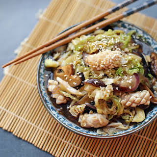 Cabbage and Squid Stir Fry.