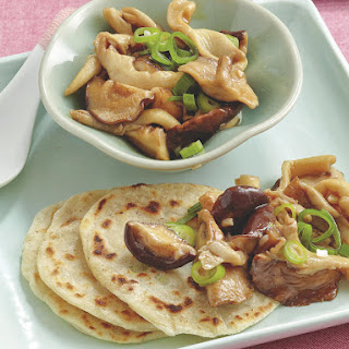 Green Onion Pancakes with Stir-Fried Mushrooms