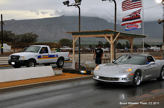 Photo: Ron Capps in the NAPA pickup, and NAPA Maui VIP, Ed Fulinaka, in his own Vette. Getting ready to start a staged race for the NAPA TV commercial.
