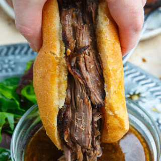 Slow Cooker Balsamic Roast Beef French Dip Sandwich.