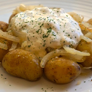 Low Cost Dinner: New Potatoes With Soft Cheese And Onions Recipe (vegetarian).
