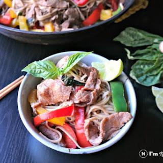 Easy Basil Beef & Pepper Noodle Stir Fry